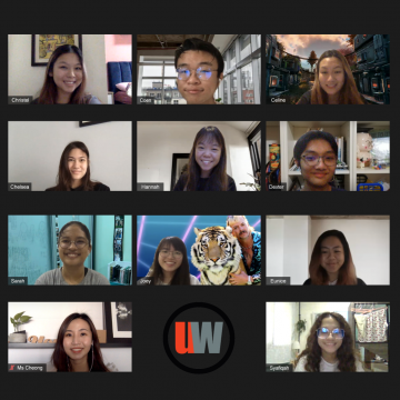 A photo of all 10 members of the April 2020 UrbanWire team with Ms Cheong on a zoom video call