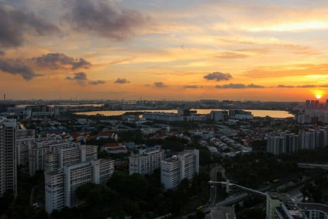 esidents and visitors at Block 445B, Clementi Crest, can enjoy this beautiful view at sunset.
