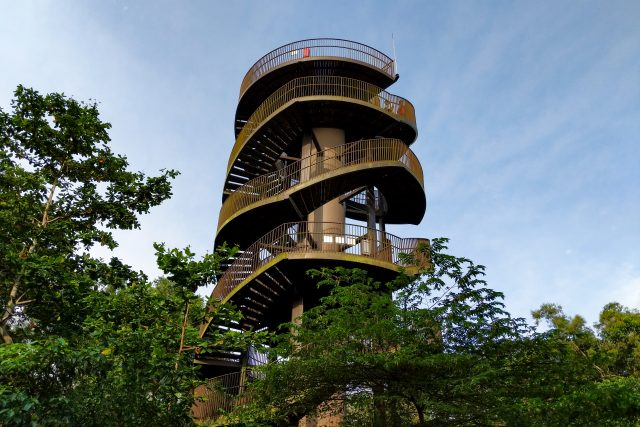 Lots of park-goers enjoy posing for photos from different levels of the tower.
